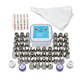 Russian Piping Tips Set: 105 Piece Cupcake & Cake Decorating Supplies Kit Includes 50 Unique Frosting Tips, 50 Disposable Pastry Bags, 4 Couplers & Free Flower Sheet - Perfect for Birthday Decorations