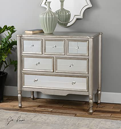 Mirrored Silver Wood Accent Chest of Drawers | Dresser Furniture