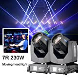Roccer 2Pcs/lot With Flight Case DMX 16/20 Channels 7R Sharpy Beam 230W Moving Head Light Black For Wedding Christmas Birthday DJ Disco KTV Bar Event Party Show (2Pcs With Flight Case )