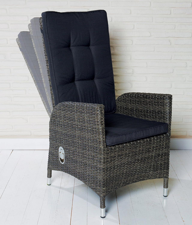 6 Polyrattan Gartensessel Luxus Rocking Chair Saint-Tropez grau Gartenstuhl Alu online kaufen