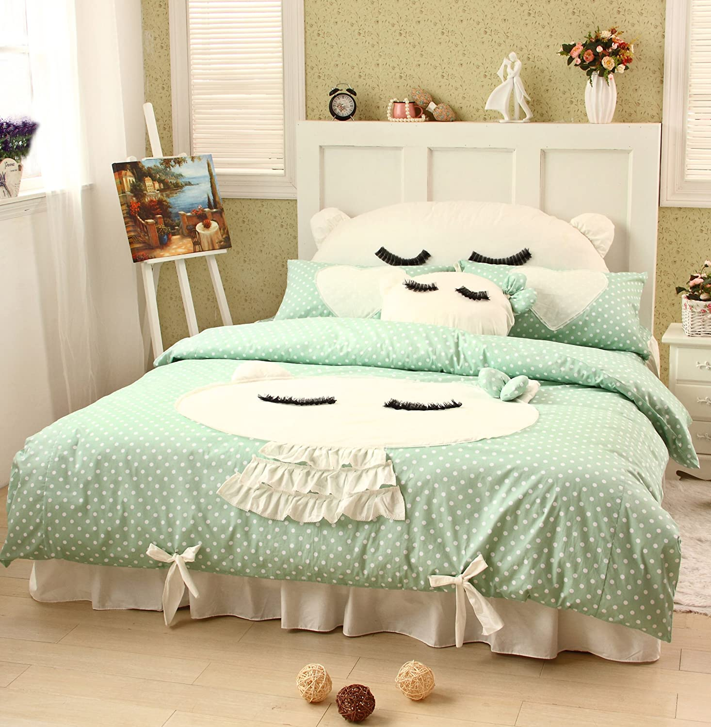 DIAIDI Home Textile,Cute Cat Bedding Set,Girls Polka Dot Bedding Set Queen Twin