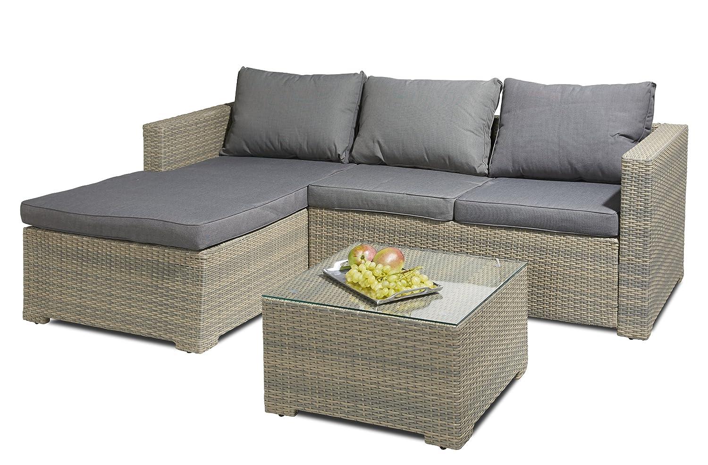 Hochwert. Polyrattan Sitzgruppe 3 tlg inkl Kissen Alu Gestell Lounge Garten Sofa
