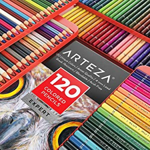 ARTEZA Colored Pencils, Professional Set of 120 Colors, Soft Wax-Based Cores, Ideal for Drawing Art, Sketching, Shading & Coloring, Vibrant Artist Pencils for Beginners & Pro Artists in Tin Box (Color: multicolored, Tamaño: Set of 120)