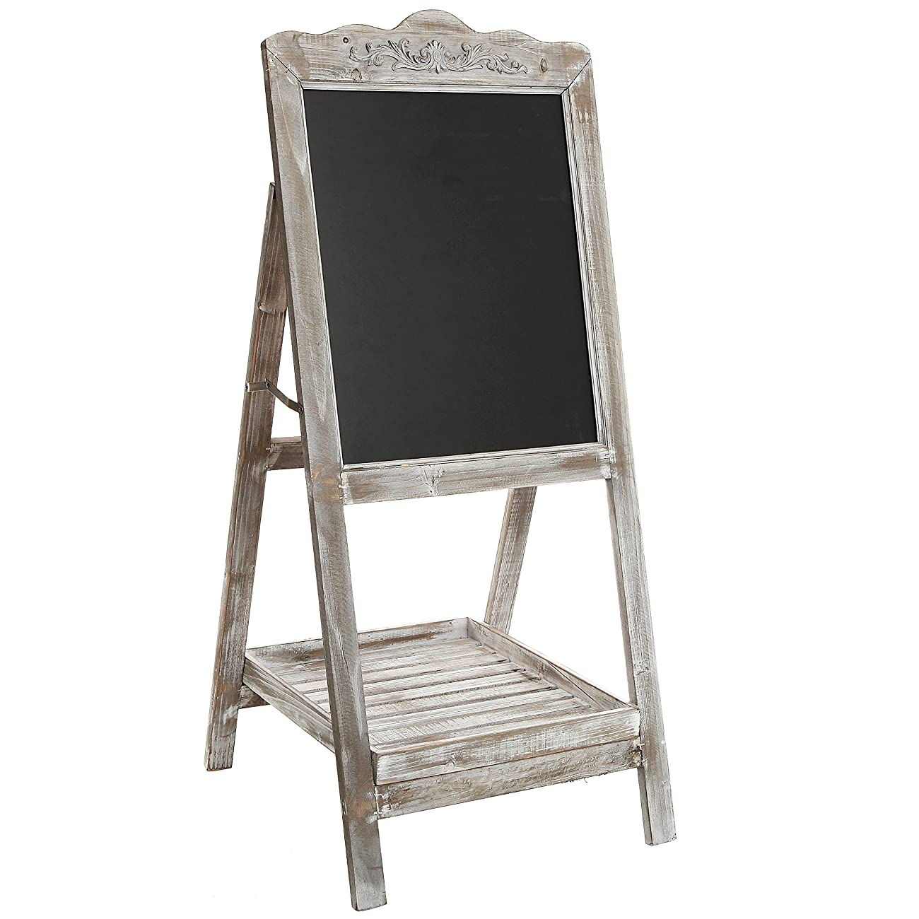 Decorative Vintage White Washed Brown Wood Large Freestanding Chalkboard Message Board Easel - MyGift 1