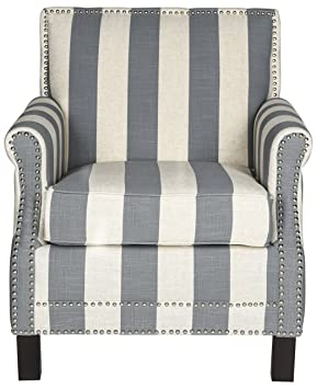 Safavieh Windsor Club Chair, Wood, Grey/White