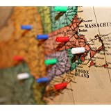 Map Magnets - 120 Pack of Small Magnetic Push-Pins for Whiteboards or Office Magnets [Assorted Colors: 30 Red, 30 Blue, 30 Green, 30 White] (Color: Red/Blue/Green/White)