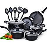 Cook N Home 15 Piece Nonstick Black Soft handle Cookware Set