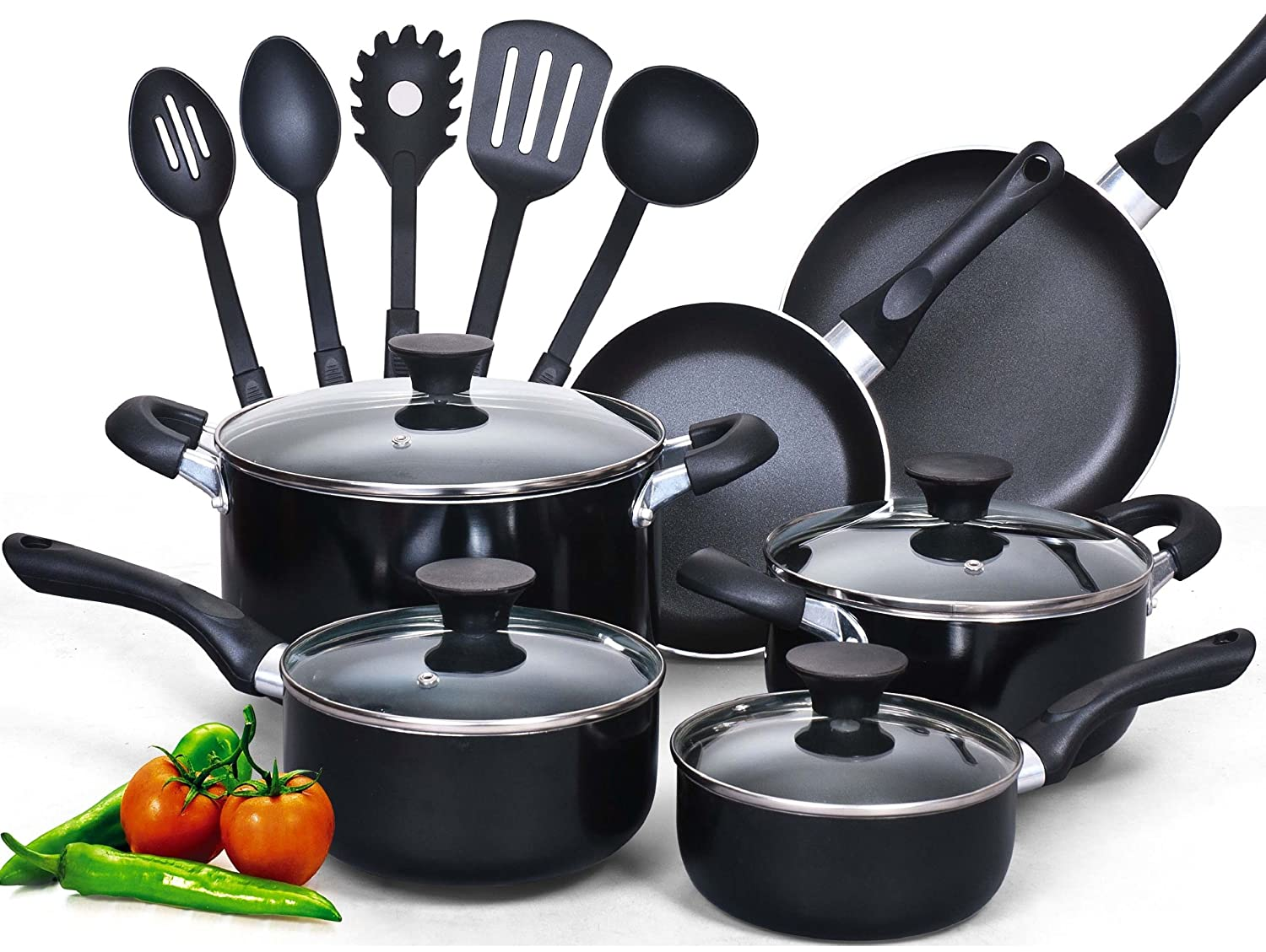 Cook N Home 15 Piece Non Stick Black Soft Handle Cookware Set Kitchen Ebay