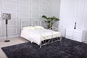 FLORENCE DOUBLE WHITE METAL BED FRAME WITH CRYSTAL FINIALS       Customer review and more news