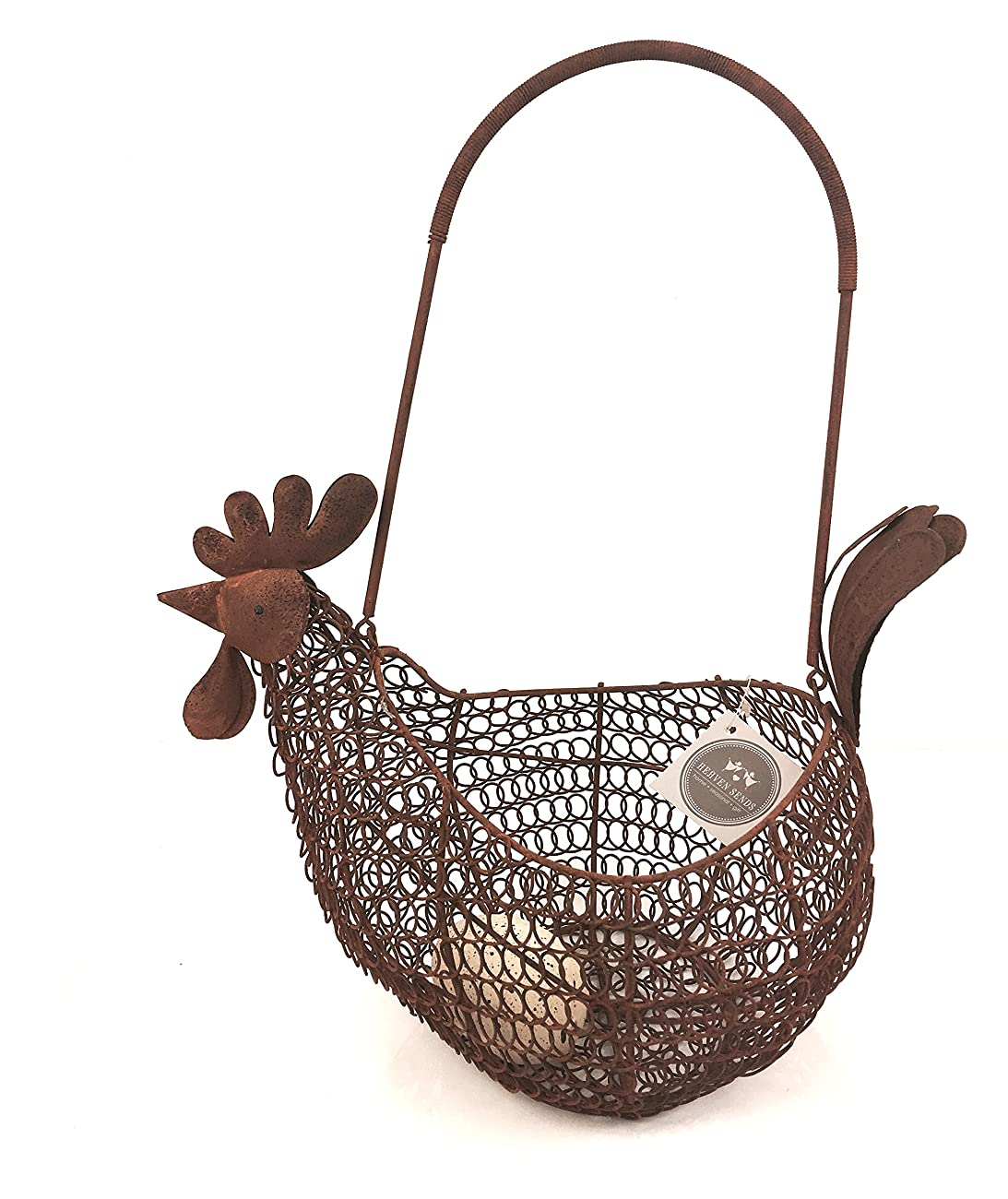 COUNTRY VINTAGE CHIC WIRE EGG BASKET HOLDER RUSTIC STORAGE HEN CHICKEN 0
