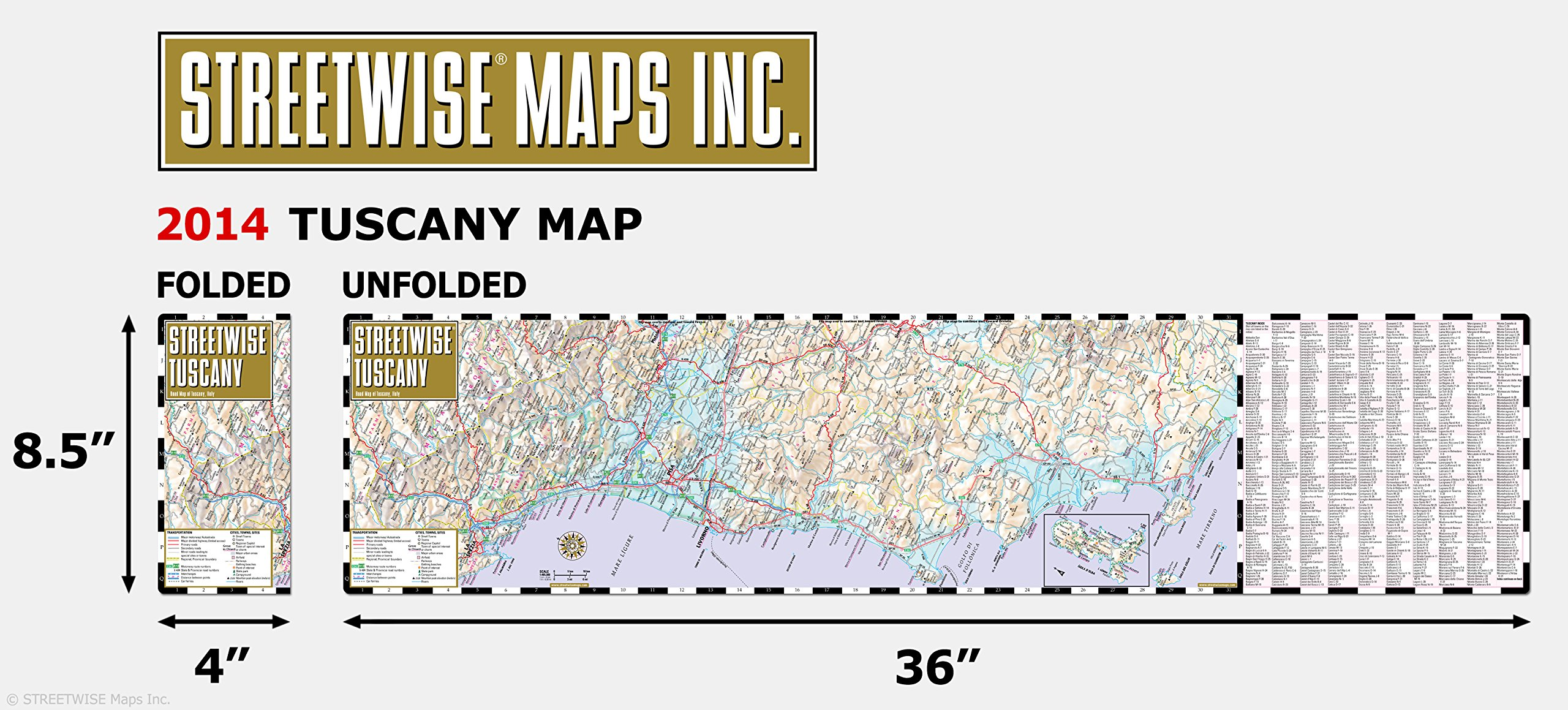 Streetwise Chicago Map.Streetwise Tuscany Map Laminated Road Map Of Tuscany Italy