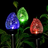 GIGALUMI Solar Lights Outdoor, Cracked Glass Flame Shaped Dual LED Garden Lights, Landscape/Pathway Lights for Path, Patio, Yard-Color Changing and White-3 Pack (Color: Bronze)