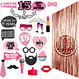 15th BIRTHDAY Photo Props| 15 Birthday Party Supplies| 15 Photo Booth Quinceanera | Backdrop Props or Photos 15th Birthday Decorations| Party Ideas Decor 15th Rose gold Photo Props Real glitter Fiesta (Color: Rose Gold)