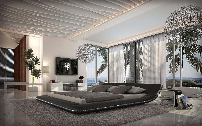 XXS® Möbel Design Bett Custo 140 x 200 cm schwarz mit LED Beleuchtung modernes Design Wasserbett Lager Sepditionsversand jetzt bestellen