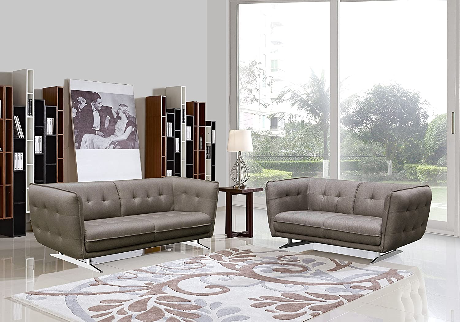 Lucas Fabric 2-piece Modern Sofa and Love-seat Set (Brown)