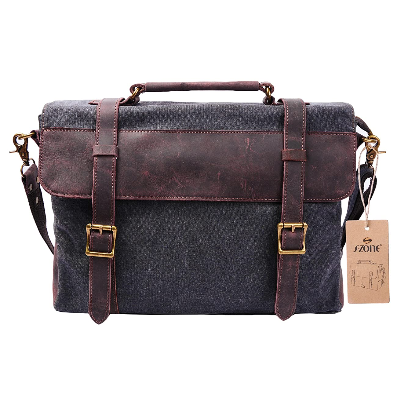 S ZONE Vintage Canvas Leather Messenger Traveling Briefcase Shoulder Laptop Bag 0