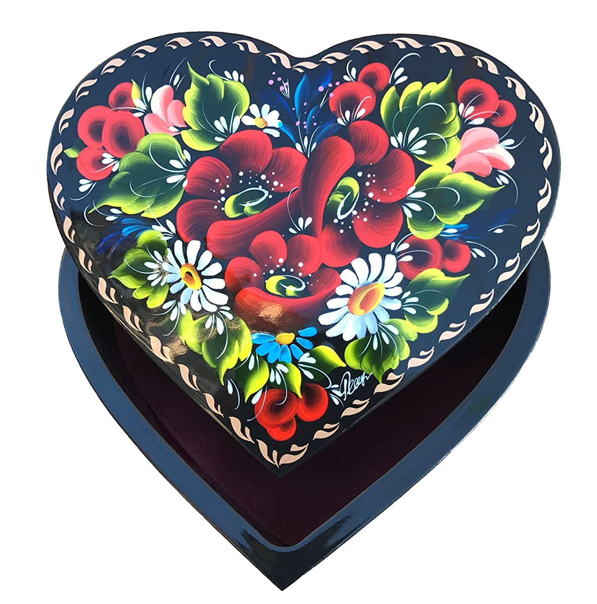 Heart-Shaped Lacquer Wooden Jewelry Box Hand Painted