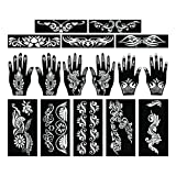 PARTH IMPEX Henna Tattoo Stencils (Pack of 16) Self Adhesive Full Body Paint Designs Template for Temporary Mehndi Drawing Hand Arms Shoulders Chest Lower Back Legs Tribal (Tamaño: Approx 8 X 4.5 Inch, 7 X 3.5 Inch & 5.5 X 1.5 Inch)