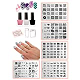 ALL-IN-ONE DIY Nail Art Stamping Kit - Latex Peel Off Liquid Tape, Black & White Nail Stamping Polish, 5 Manicure Nail Stamping Design Plates, 2 Clear Nail Stampers, and Scraper | Nail Art Tool (Color: Black, White)