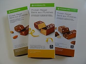 HERBALIFE 3 x Proteinriegel, 14 Riegel x 35 g - Vanille-Mandel Geschmack - 490 g, 14 Riegel x 35 g - Schoko-Erdnuss Geschmack - 490 g, 14 Protein Riegel x 35 g - Zitrone Geschmack - 490 g (Geschenk-Set)