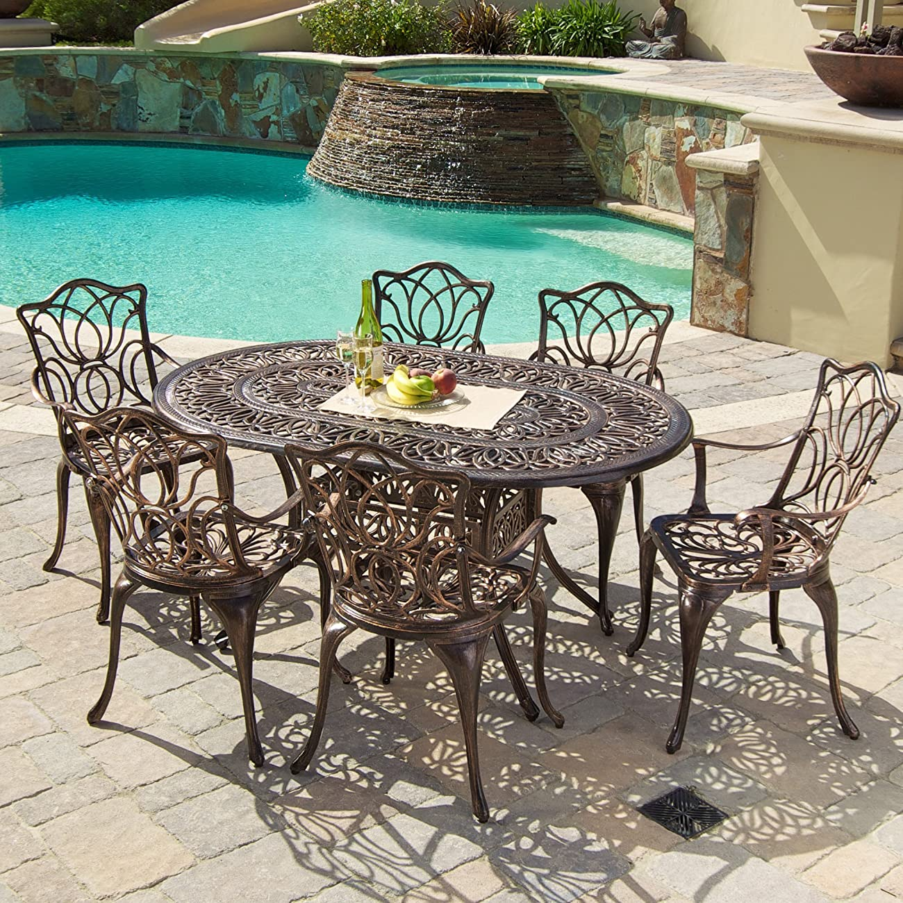 Gardena Cast Aluminum Outdoor Dining Set (Set of 7) 3