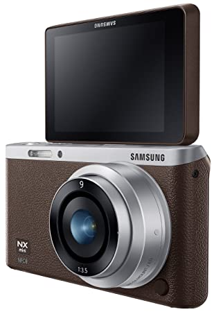 """Samsung NX Mini 20.5MP CMOS Smart WiFi & NFC Compact Interchangeable Lens Digital Camera with 9mm Lens and 3"""" Flip Up LCD Touch Screen (Brown): Amazon.ca: Camera & Photo"""