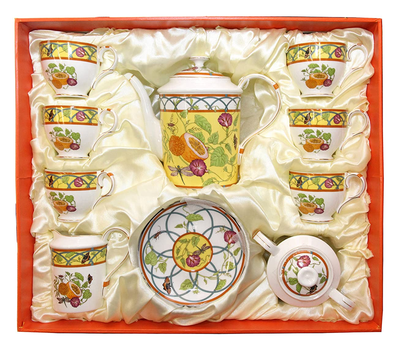 Royal Porcelain 15-Piece Antique Citrus Yellow Vintage Dining Tea Cup Set, Service for 6, Handmade & Hand-Painted, HQ Bone China 5