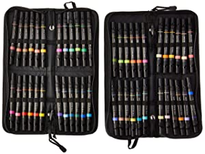 Prismacolor 98 Premier Double-Ended Art Markers, Fine and Chisel Tip, 48 Pack, with Carrying Case (Color: Assorted Colors, Tamaño: 48-Count with Case)