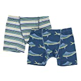 KicKee Pants Little Boys Boxer Briefs Set (Set of 2), Boy Perth Stripe & Twilight Dolphin Fish, 9-10 Years