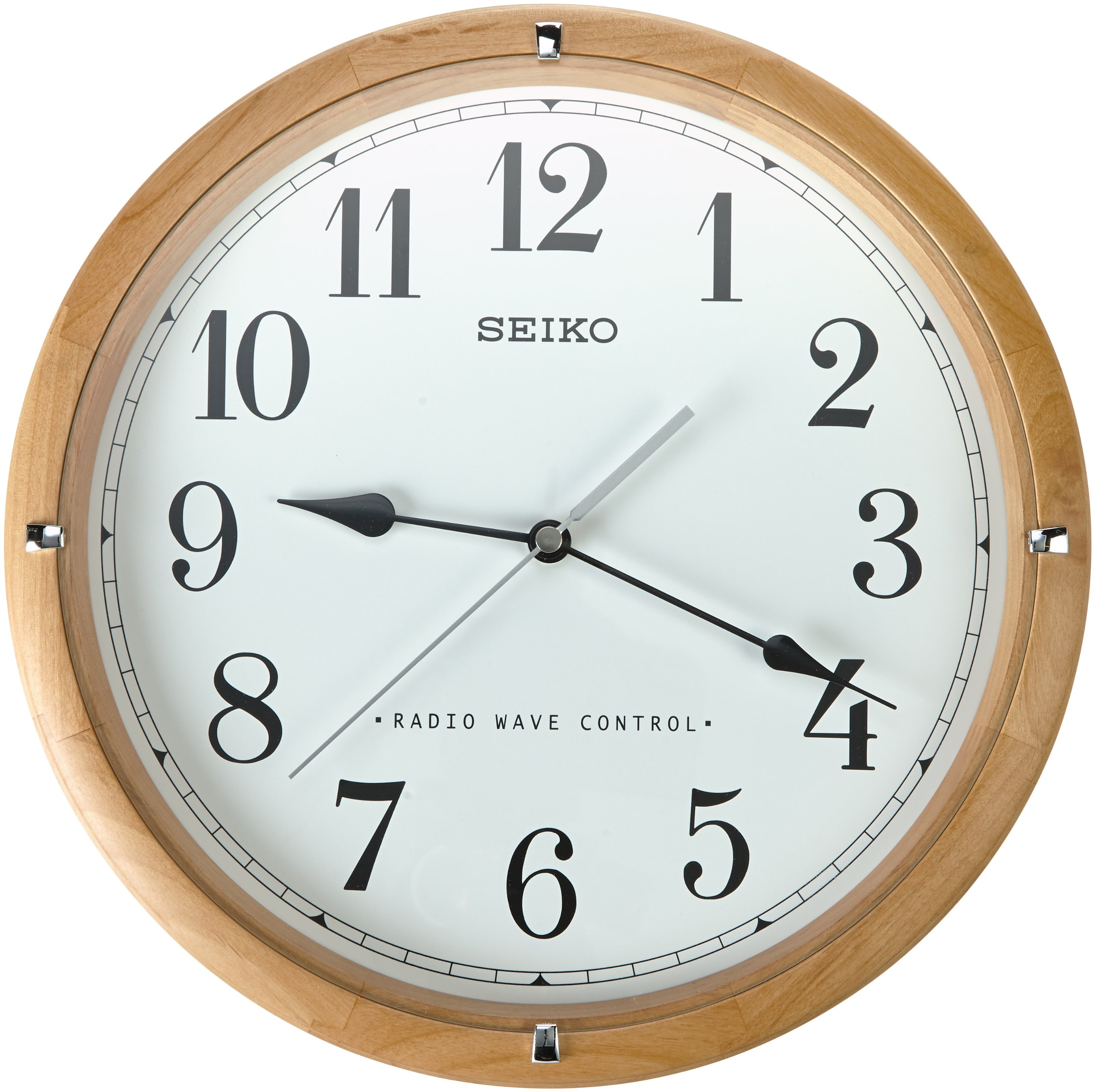Seiko Qxr303z Radio Controlled Wooden Wall Clock Ebay