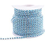 KAOYOO 1 Roll 10 Yards Crystal Rhinestone Close Chain Trim, SS16/4.0mm, Silver Chain with Aquamarine Crystal Beads (Color: Silver with Aquamarine Beads, Tamaño: SS16/4.0mm)