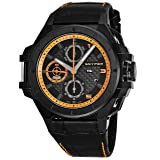 Snyper Ironclad Orange Special Edition Black Stainless Steel Mens Automatic Chronograph Watch Leather Band - 44mm Analog Black Face with Day Date Sapphire Crystal - Swiss Watches For Men 50.270.00SP