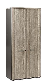 Gami K17530 Jazzy Armoire avec 2 Portes Panneaux de Particules Chêne/Gris Foncé 48 x 80 x 183 cm