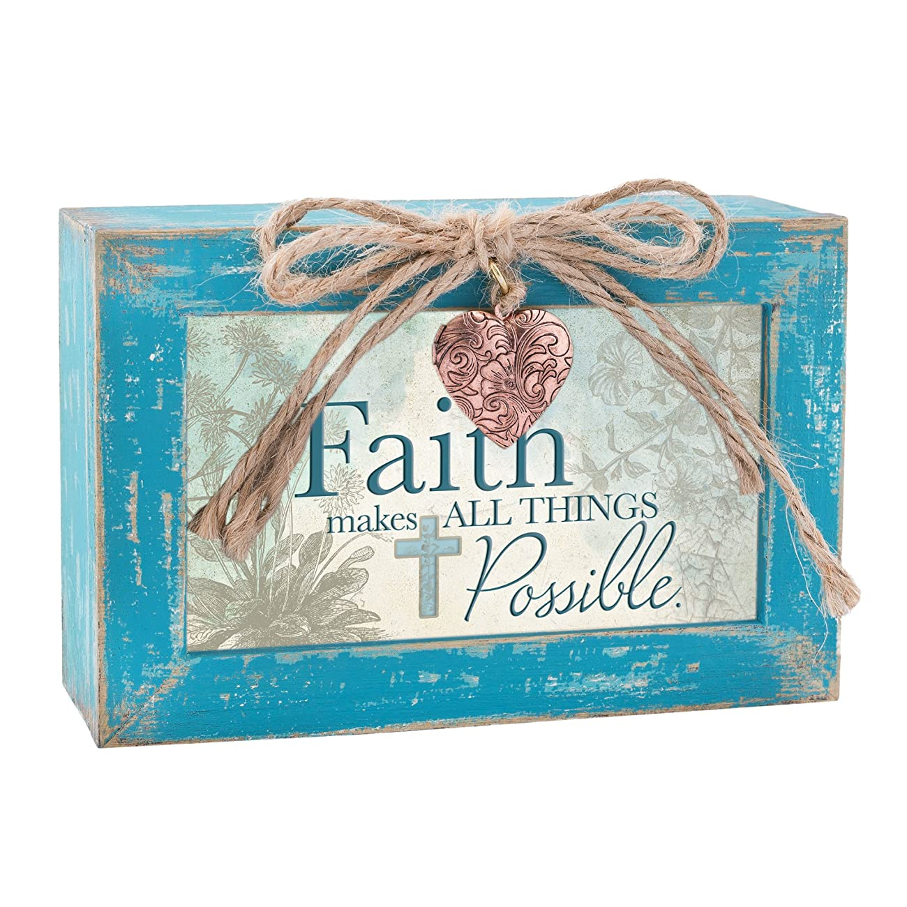 Faith Makes All Things Possible Teal Wood Locket Jewelry Music Box Plays Tune Amazing Grace 2