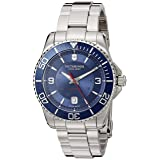 Victorinox Men's 'Maverick' Swiss Automatic Stainless Steel Casual Watch, Color Silver-Toned (Model: 241706) (Color: Blue/Stainless)
