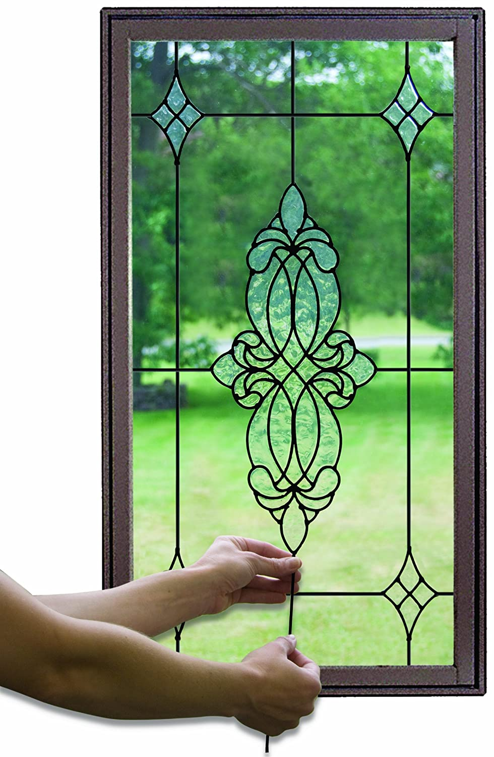 Stained glass caming lines window film handcrafted black for Stained glass window film