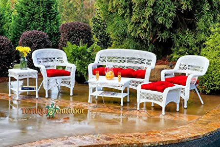 Tortuga Portside 6 Piece Wicker Outdoor Seating Set, White Wicker, Lipstick Fabric