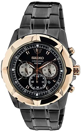 buy seiko black dial rose gold bezel analog watch for men seiko black dial rose gold bezel analog watch for men srw028p1