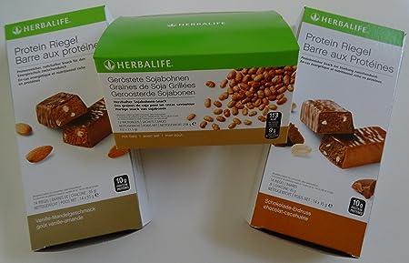 HERBALIFE 2 x Proteinriegel und 1 x Geröstete Sojabohnen, 14 Protein Riegel x 35 g - Vanille-Mandel Geschmack - 490 g, 14 Riegel x 35 g - Schoko-Erdnuss Geschmack - 490 g, Geröstete Sojabohnen 258 g - 12 Portionen á 21,5 g (Geschenk-Set)