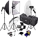 Emart 900W Professional Photo Studio Monolight Strobe Flash Light Kit with Umbrella & Softbox Accessories for Photography Portrait and Product Shoot