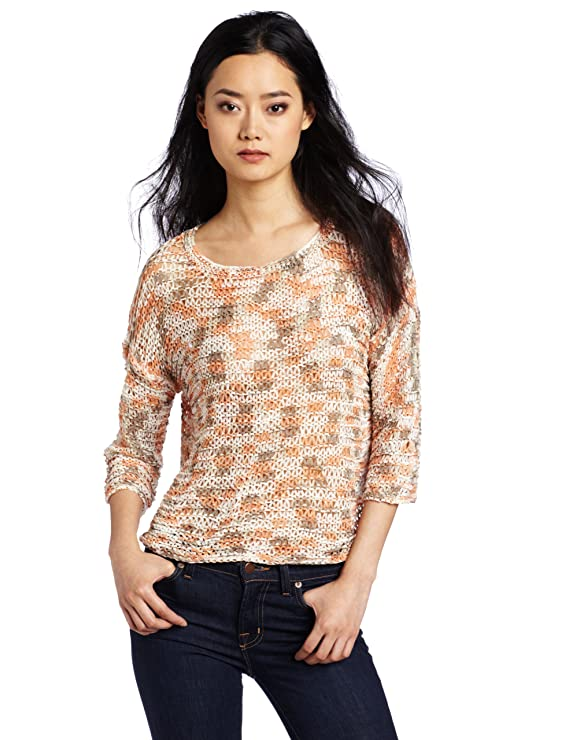 Kensie Women's Space Dye Ribbon Yarn Sweater