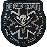 Rub Some Dirt On It Medic, EMS, EMT, Paramedic - Embroidered Velcro Morale Patch (Black)