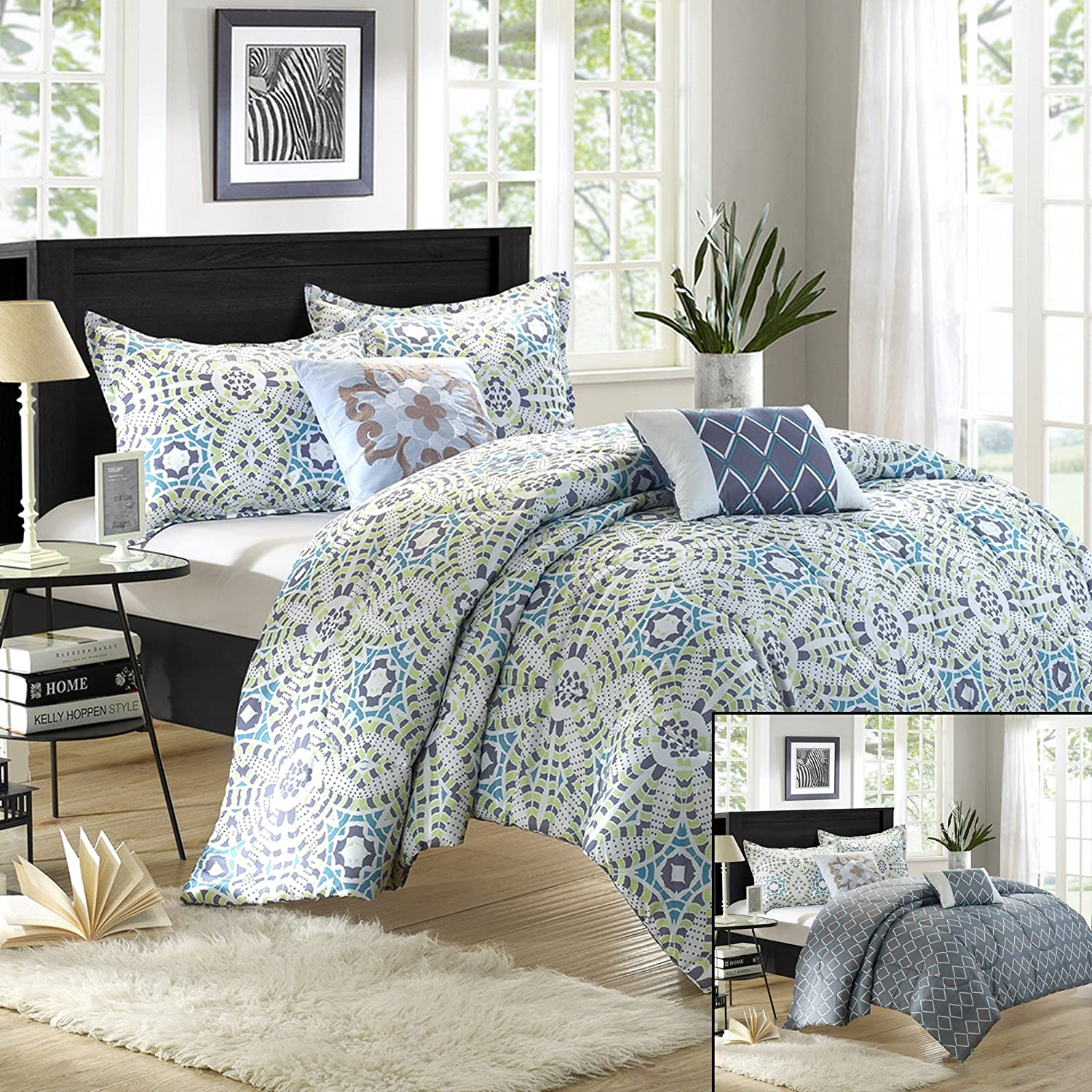 Chic Home Essence 5-Piece Luxury Reversible Comforter Set with Shams and Decorative Pillows, Queen Size, Printed