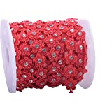 KAOYOO 10 Yards New Flower Shaped with Rhinestone Chain Sew On Trims Wedding Dress Beaded Trim (Color: Red)