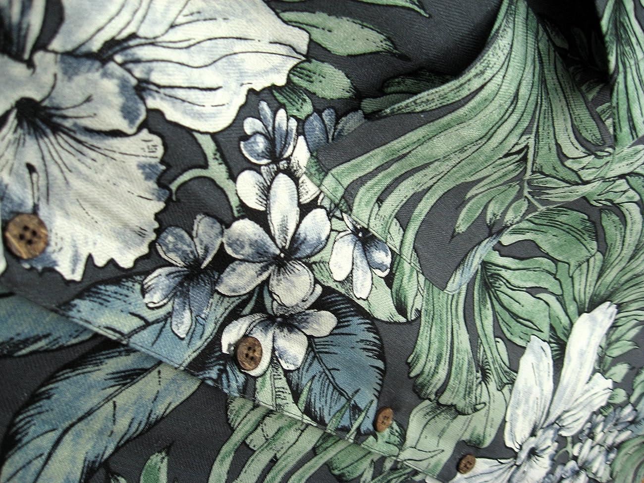 Mens Silk Camp Shirt Grey Hawaiian Cool Casual Floral Aloha 2