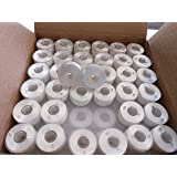 Doublelin Prewound bobbins, Plastic sided, SIZE A, Class 15, 15J, Brother SA156, 144pcs, White color, 100% Polyester, 75/D2 140 yards, Works on most Babylock, Berenia, Brother, Janome, Juki, Singer