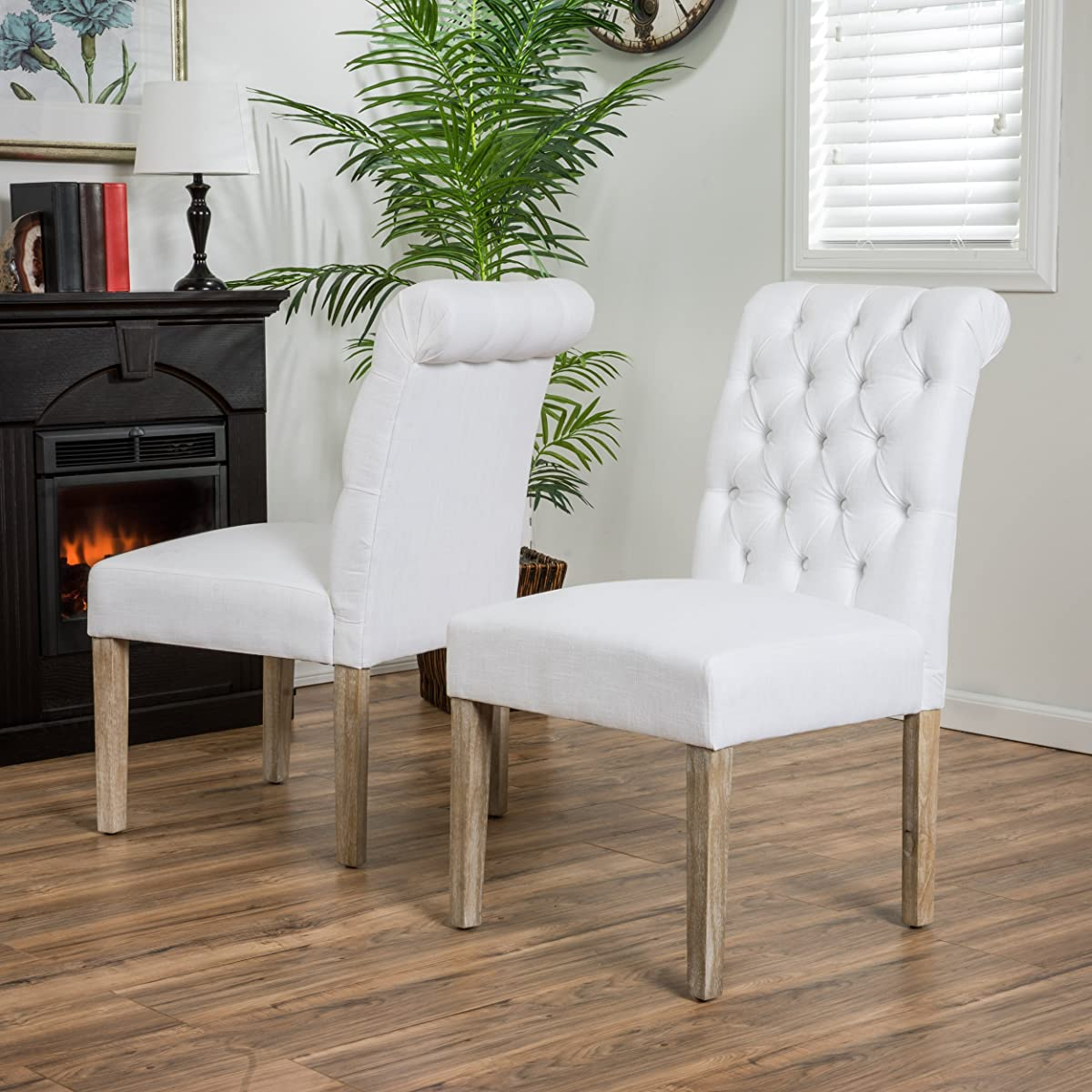 Elmerson Roll Back Off-White Fabric Dining Chairs (Set of 2)