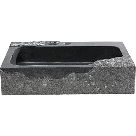 "Y Decor JAKI Artistic Granite Vessel Sink, Black/Grey/Silver/White/Off White, 18.5"" L x 10.5"" W x 3.75"" D"