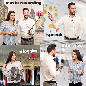 Lavalier Microphone - Professional Lapel Mic For Recording Interview, Podcast, Speech, Vlog, Video, Youtube - External Mic For IPhone, Android, Laptop - Pro Grade Lapel Microphone - Clip On Microphone