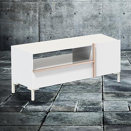 Phönix 226203WEE Beijing Lowboard mit Schublade, Tur und offenem Regalfach, weiß / eiche-sägerau